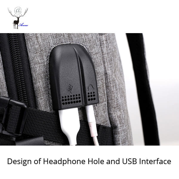 Design of Headphone Hole and USB Interface for Backpack